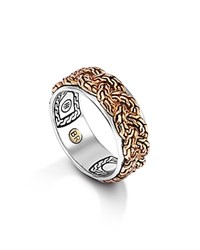 John Hardy Men's Classic Chain Bronze And Silver Braided Chain Band Ring