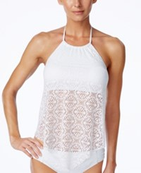 Bleu By Rod Beattie Crochet Lace High Neck Tankini Top Women's Swimsuit White
