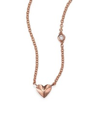 Sydney Evan Diamond And 14K Rose Gold Mini Heart Charm Necklace