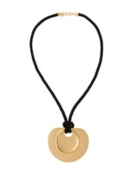 Kenneth Jay Lane Long Golden Pendant Necklace W Black Cord Women's