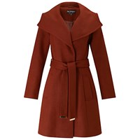 Miss Selfridge Wrap Fit And Flare Coat Rust