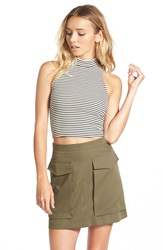 Soprano Mock Neck Crop Tank Juniors Beige