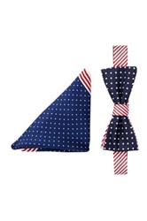 Alara Silk Americana Dots And Stripes Bow Tie And Pocket Square Set Blue