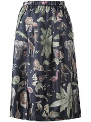 Muveil Jungle Print Midi Skirt Blue