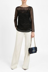 Oscar De La Renta Lace Balloon Sleeve Blouse Black