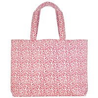 John Lewis Large Robin Print Craft Shopper Bag Pink