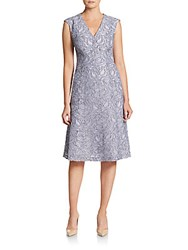 Anne Klein Embroidered Fit And Flare Dress Greystone