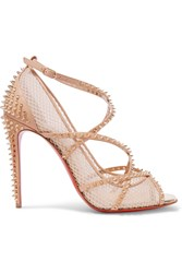Christian Louboutin Alarc 100 Spiked Leather Trimmed Fishnet Pumps Beige