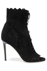 Jimmy Choo Dei Perforated Suede Peep Toe Ankle Boots