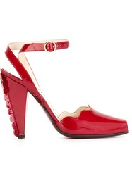 Yves Saint Laurent Vintage Scalloped Trim Heel Sandals Red