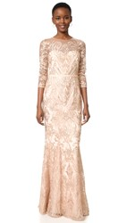 Marchesa Fully Embroidered Fit And Flare Gown Blush