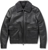 Brioni Shearling Bomber Jacket Gray