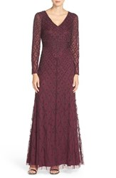 Adrianna Papell Women's Embellished Mesh Gown Cassis
