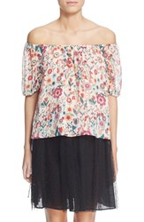 Women's Red Valentino Floral Print Off The Shoulder Silk Top