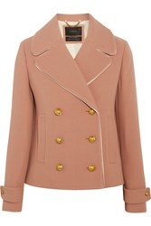 J.Crew Tipped Satin Trimmed Wool Blend Crepe Jacket Taupe