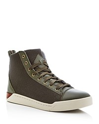 Diesel Tempus S Emerald Embossed High Top Sneakers Olive Night Green