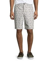 Penguin Coral Flower Poplin Shorts Gray