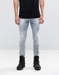 Asos Super Skinny Jeans In Light Blue Acid Wash Grey Blue