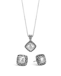 John Hardy Sterling Silver Classic Chain Heritage Earrings And Pendant Necklace Gift Box Set