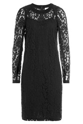 Dkny Cotton Blend Dress With Lace Black