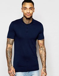 Asos Extreme Muscle Jersey Polo In Navy Navy