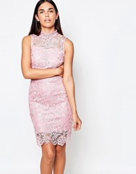 Club L Sleeveless Crochet Dress With Cut Out Back Detail Pink