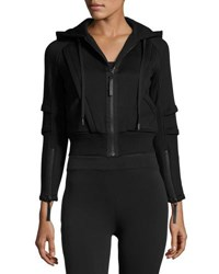 Helmut Lang Hooded Zip Front Fleece Sweatshirt Black