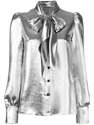 Saint Laurent Metallic Grey Pussybow Blouse