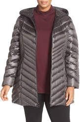 Laundry By Shelli Segal Plus Size Women's Side Panel Detail Hooded Down Coat