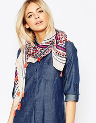 Oasis Floral Light Weight Scarf With Tassel Detail Cream