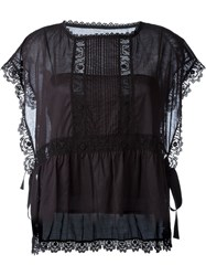 Red Valentino Embroidered Lace Trim Blouse Black