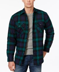 Club Room Plaid Button Front Shirt Jacket Only At Macy's Navy Blue