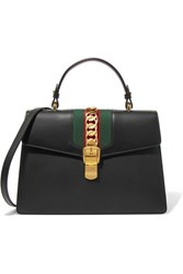 Gucci Sylvie Medium Canvas Paneled Leather Shoulder Bag Black
