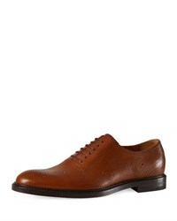 Gucci Leather Bee Brogue Lace Up Oxford Brown