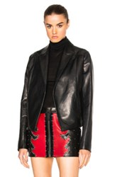 Anthony Vaccarello Cropped Gathered Back Leather Blazer In Black