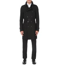Burberry Modern Fit Cotton Twill Trench Coat Black