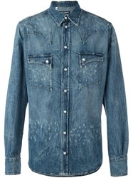 Dolce And Gabbana Distressed Western Shirt Blue
