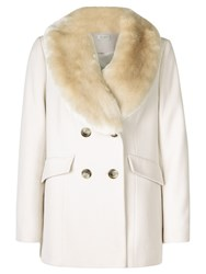 Kaliko Faux Fur Collar Short Coat Multi Cream