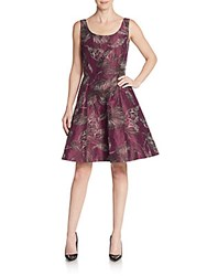 Oscar De La Renta Silk Blend Embossed A Line Dress Amethyst