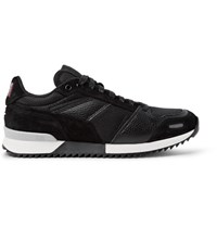 Ami Alexandre Mattiussi Panelled Leather Suede And Mesh Sneakers Black