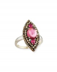 Bavna Pink Tourmaline And Multicolored Diamond Navette Ring Size 7
