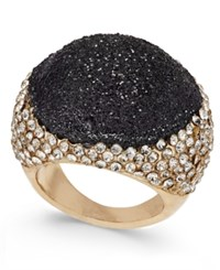 Thalia Sodi Gold Tone Glitter And Crystal Bubble Ring Only At Macy's Black