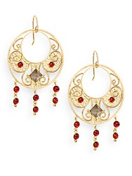 Stephanie Kantis Antiquity Red Crystal And Smoky Topaz Drop Earrings Gold Red