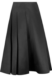 Jason Wu Pleated Silk And Cotton Blend Satin Skirt Black