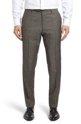 Boss Men's 'Leenon' Flat Front Solid Wool Trousers Taupe