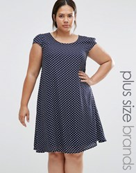 Praslin Plus Swing Dress In Polka Dot Navy White