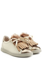 Brunello Cucinelli Leather Sneakers With Fur White