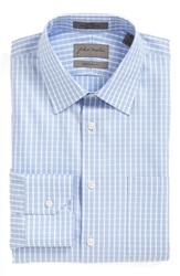 John W. Nordstrom Traditional Fit Non Iron Check Twill Dress Shirt Blue Heather