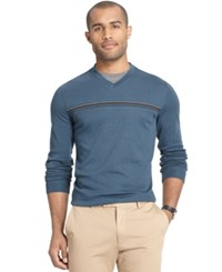 Van Heusen Interlock Stripe V Neck Sweater Turquoise Seabed