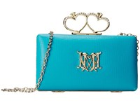 Love Moschino Embosseed Leather Heart Clutch Light Blue Handbags